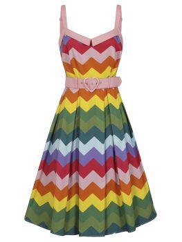 Collectif dorothy rainbow chevron swing dress