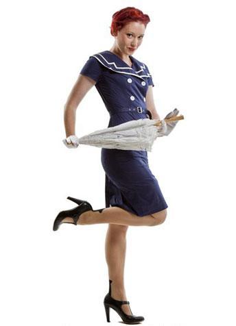 Vintage style blue sailor dress