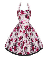White and pink floral halterneck 50's dress. Available up to size 26