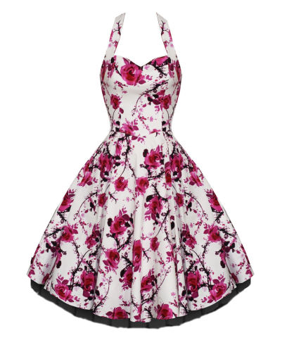 White and pink flower 50's dress