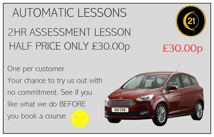 Our cheapest driving lesson, a 2 hour assessment for just thirty pounds. Automatic Driving lessons in Grimsby with 21st Century Driving School