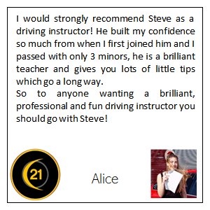 Customer reviews for Driving lessons in Grimsby with 21st Century Driving School
