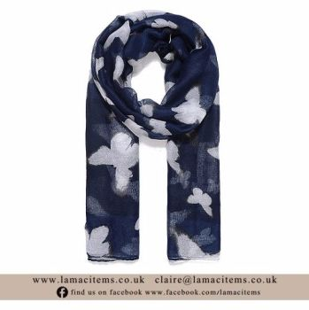 Navy Butterfly Scarf