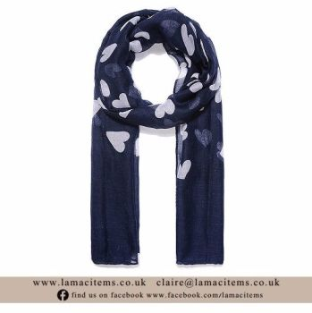 Navy Heart Scarf