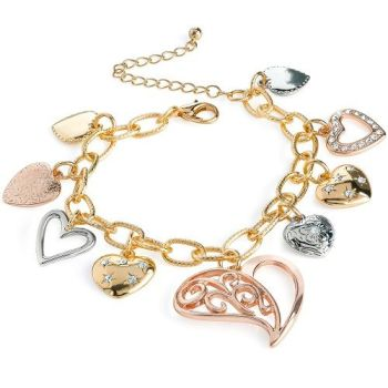 Three Tone Heart Charm Bracelet