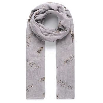 Quincey Feather Scarf - Grey