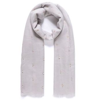 Grey Glitter Scarf with Pearls