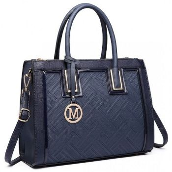 Navy Textured Tote Bag
