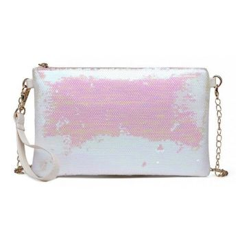 White Sequin Clutch Bag