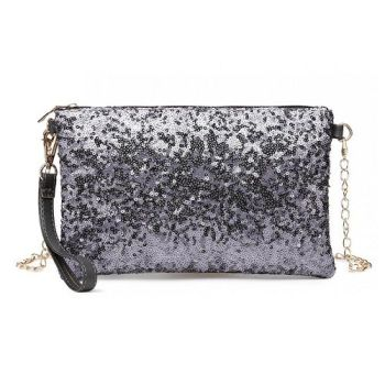 Grey Sequin Clutch Bag