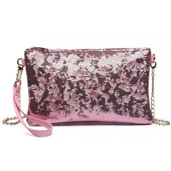 Pink Sequin Clutch Bag