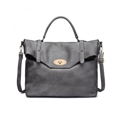 Grey Leather Look Tote Bag