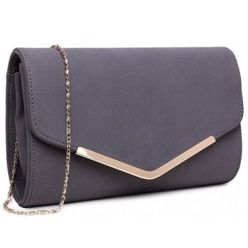 Grey Envelope Clutch Bag
