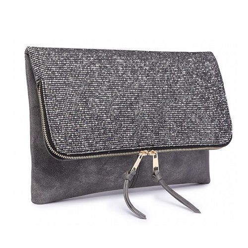 Dark Grey Glitter Fold Over Clutch Bag