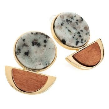 Marble & Wood Effect Earrings