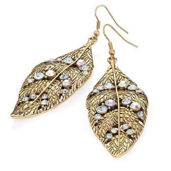 Antique Crystal Leaf Earrings