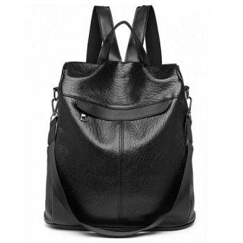 Black Textured Faux Leather Backpack/Shoulder Bag