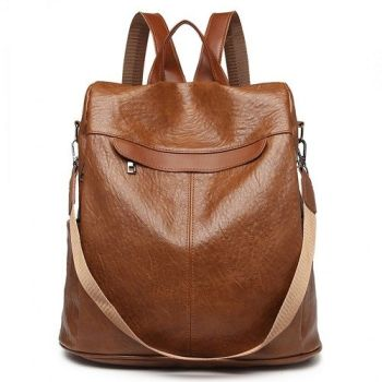 Brown Textured Faux Leather Backpack/Shoulder Bag