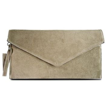 Suede Khaki Envelope Clutch Bag