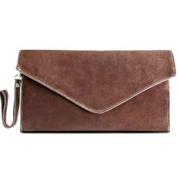 Suede Brown Envelope Clutch Bag