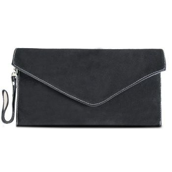 Suede Black Envelope Clutch Bag