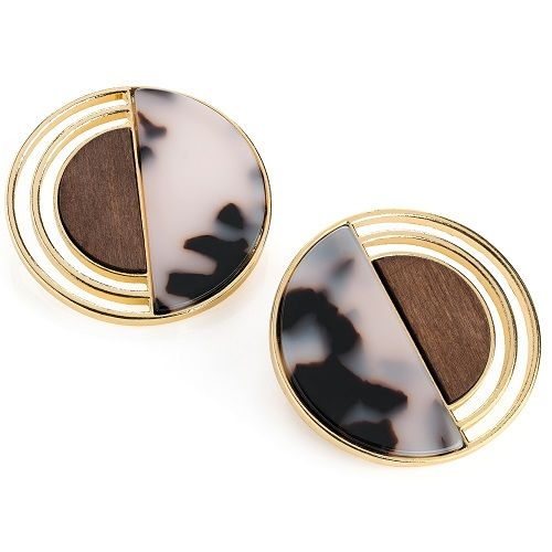 Marble Effect Round Earrings