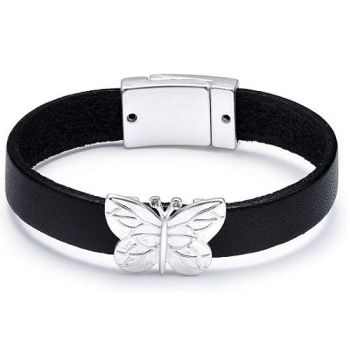 Leather Butterfly Charm Bracelet