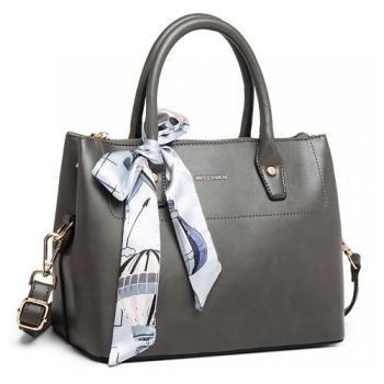 Grey Scarf Décor Handbag