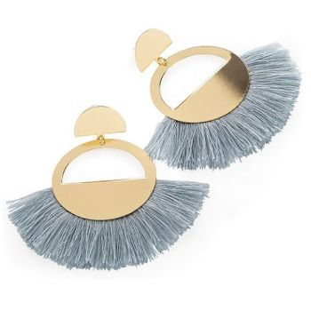 Beau Fan Earrings - Grey