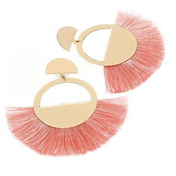 Beau Fan Earrings - Coral