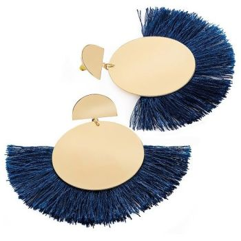 Beau Fan Earrings - Navy