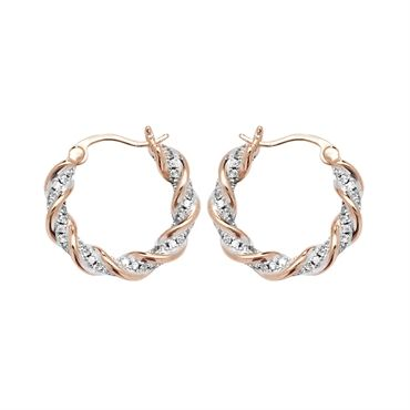 Rose Gold Stone Set Hoop Earrings