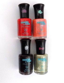 Collection Little Mix Nail Polish x 4 Joblot Bundle Set Red /Coral Pink / Dark Purple / Metallic Green