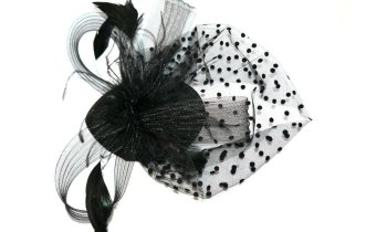Black hatinator with Black feathers and Black mesh on 2 forked clips