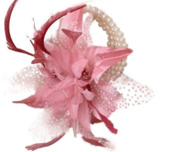 Pink Flower and Spotted Net Wrist Corsage Bracelet