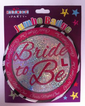 Bride To Be Jumbo Badge - L Plate