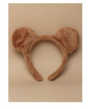 Brown furry fabric teddy bear ears aliceband