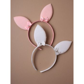 Bunny rabbit ears aliceband with crystal bows. In pink Or white.