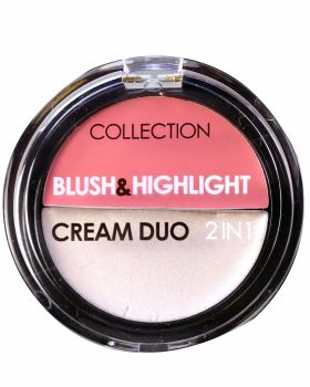 Collection Blush & Highlight Cream Duo 2 in 1 Blusher & Highlighter ~ 1 Strawberries and Cream ~ Mid Rose Pink