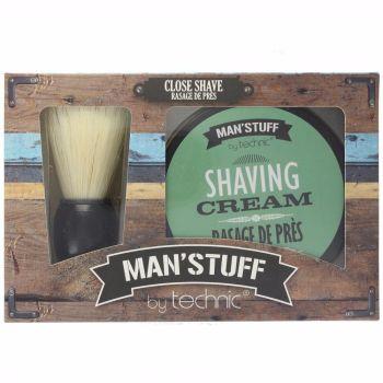 Technic Man Stuff Shaving Cream & Brush - Mens Gift Set