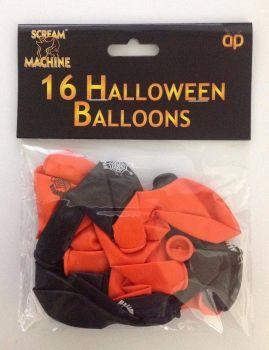 16 HALLOWEEN BALLOONS ORANGE & BLACK PARTY DECORATION SCREAM MACHINE
