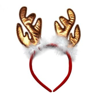 Bronze Furry Christmas Reindeer Antler Bopper / Head Band