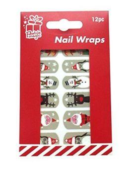 12 x Christmas Nail Wraps - Santa, Reindeer, Snowman, Penguin, Elf