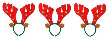 Christmas / Xmas Reindeer Antlers Headband With Bells (pack of 3)