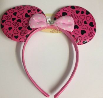 Heart Mouse Ears With Diamante - Dark Pink