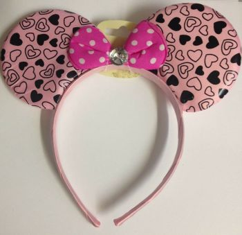 Heart Mouse Ears With Diamante - Light Pink
