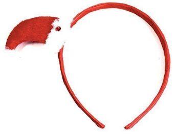 SANTA HAT ON NARROW RED RIBBON ALICEBAND HEADBAND FANCY DRESS PARTYS