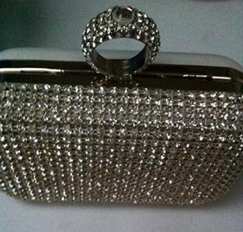 Silver Diamante Encrusted Hard Cased Clutch Bag