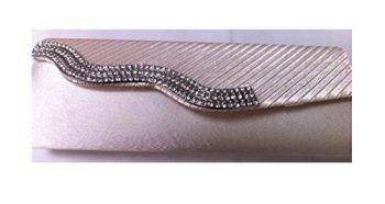 Cream Satin Wave Style Diamante Detail Clutch Bag