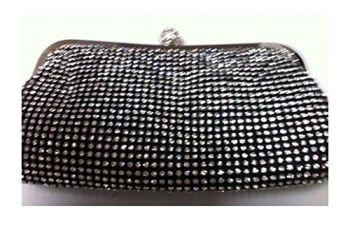 New BLACK Sequin & Diamante Clutch Bag